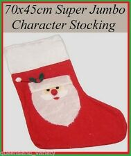 Super JUMBO Red CHRISTMAS STOCKING with SANTA HEAD 70x45cm for Presents Gifts