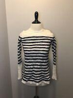 J Crew Women's Open Knit Sweater White & Navy Stripe Sz S