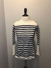 J Crew Open Knit Sweater White Navy Stripe Womens Sz Small