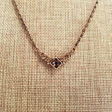 1928 Amber Crystal Rhinestone Antique Bronze Swirl Link Choker Necklace 1512