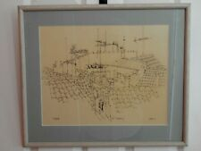 Roof Tops in St. Thibery by C. Abbott Meader Ink on Paper Original Signed Framed