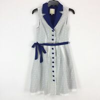 ModCloth Dress Size Small Blue White Eyelet Lace Collar Button Down Lined Belt