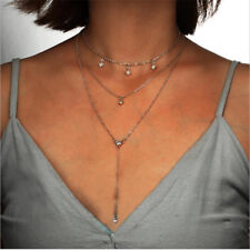 Multilayer Choker Necklace Crystal Star Chain Gold Women Summer Fashion Jewelry