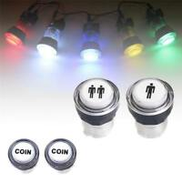 LED 1 Player + 2 Player + Coin Button Switch Kit Arcade Game Start-Push