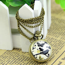Vintage Antique Retro Quartz Butterfly Bird Pendant Chain Necklace Pocket Watch