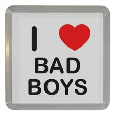 I Love Heart Bad Boys - Clear Plastic Tea Coaster / Beer Mat BadgeBeast