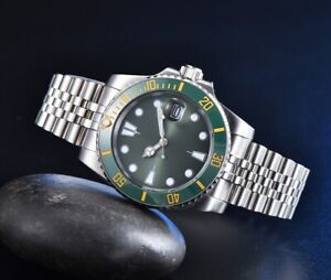 40mm Green NOLOGO Dial Luminous Stainless Case Automatic Movement Men's Watch