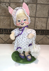 Annalee Country Rabbit Bunny Doll Dress And Umbrella Spring Easter Vintage