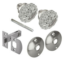 VICTORIAN GLASS DOOR KNOB PASSAGE SET Defiant Satin Nickel Finish 2 Knobs Pack