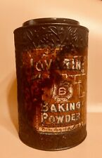 LOVERIN & BROWNE CO. EMBOSSED 5 lb. BAKING POWDER TIN w. LABEL!