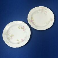 """2 Theodore Haviland Limoges France 3 1/4"""" Pink Floral Butter Pats or Miniatures"""