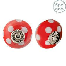 Ceramic Door Knobs Cabinet Drawer Handle Set, Polka Dot, Red and White - x6