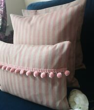 French vintage striped blush faded pink  natural cream beige linen cushion cover