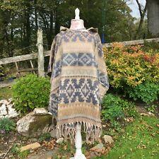 Fleece Aztec Hooded Poncho – Boho Hippie Festival Ethnic Nomads Wales