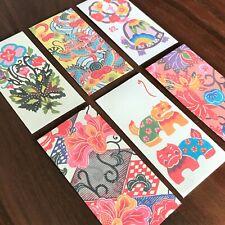Envelopes of Traditional Bingata Dyeing Patterns Okinawa Japan Pack of 6