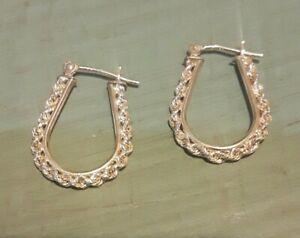 Solid 14k Yellow Gold Rope Chain Oval Hoop Earrings Lever Back