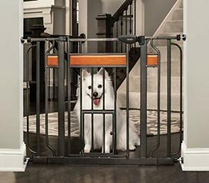 Carlson Home Design Extra Wide Walk Thru Pet Gate with Small Pet Door Include...