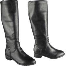 New Womens Winter Ladies Rider Biker Mid Calf Boots Long Zip Low Heel Shoes Size