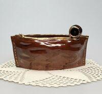 Figural Cache Pot Planter Trinket Dish Pipe Tobacco Pouch Redware Pottery VTG