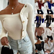 Women's Long Sleeve Slim Fit Tops Button Winter Casual T Shirt Jumper Sweater US