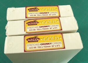 """3 X LOXLEY GOLD STRETCHED CHUNKY DEEP FRAME BOX CANVAS 152 X 152 X 36MM 6"""" X 6"""""""