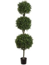 6.5' Artificial Boxwood Triple Ball Topiary Tree In Pot Outdoor Plant Patio Deco