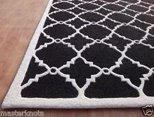 New Lattice Trellis Black White 9' x 12' Handmade 100% Wool Loop Area Rug Carpet