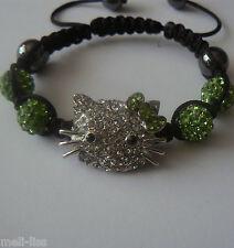Hello Kitty Shamballa Light Green Czech Crystal Bracelet +Free pair of earrings