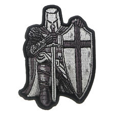 Embroidered Small Black & White Crusader Knight Sew or Iron on Patch Biker Patch