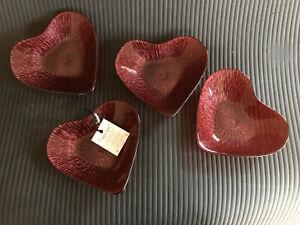 BRAND NEW AKCAM 4 RED GLASS HEART SHAPE BOWLS