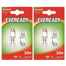 4 x Eveready G9 33W Halogen Bulb 350 Lumens 220V Clear Capsule Lamp