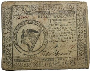 United States Continental Currency 1776 Eight Dollars Note Halls & Sellers CC-38