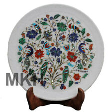 Marble Inlay Plate Antique Serving Decorative Gems Stone Vintage Art Marquetry