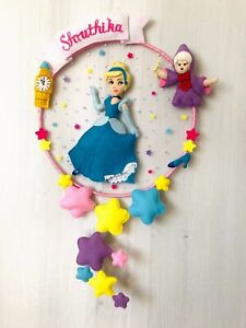 Princess Cinderella felt name hanging with battery operated LED lights