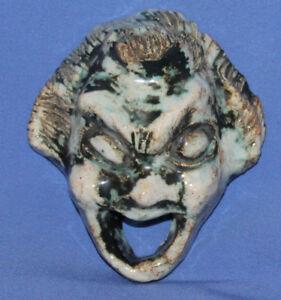 Antique Hand Made Grotesque Mask Ceramic Glazed Pottery Figurine