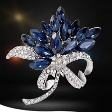 Elegant Brooch Blue Glass Crystal Rhinestone Flower Brooch Pins Wedding Jewelry