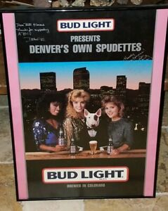 SPUDS MACKENZIE BUD LIGHT VINTAGE BEER POSTER BAR GARAGE 1988