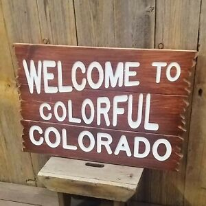 Large Welcome To Colorful Colorado Carved Rustic Wood Sign, Cabin, Lodge, Home,