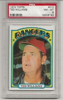 1972 TOPPS #510 TED WILLIAMS, PSA 8 NM-MT, HOF, TEXAS RANGERS, L@@K !