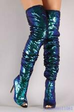 Sequins Women's Over Knee Boots Thigh High Slouchy Open Toe Stiletto Performance
