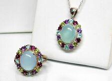 Designer Sterling Silver Blue Chalcedony Gemstone Halo Pendant Ring Set Sz 9