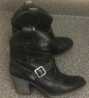 Rocketdog UK 5 / 38 Black Suede Faux Leather Ankle Boots Block Chukka Chelsea