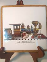 "C.P. Huntington 1863 Train Trivet on Oak Block made in Brazil 6.75""x 6.75"" ....."