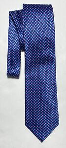 ERMENEGILDO ZEGNA BLUE TIE 100% SILK GEOMETRIC 66''/3.5'' EXCELLENT CONDIT