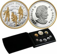 2012 Canada 99.99% pure silver+gold Proof Set of 8 coins, 1812 War,  BOX + COA.
