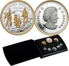 2012 Canada 99.99% pure silver+gold Proof Set of 8 coins, 1812 War,  BOX + COA.