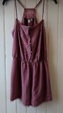 Anthropologie romper mauve lace lingerie sz L strap embroidery Eloise NEW w tags