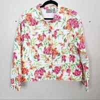 Chicos Size 2 Large Floral Printed White Denim Jacket Cotton Pink Orange Cotton