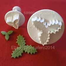 Holiday Christmas Triple Veined Holly Leaf Plunger Cutter 2 pcs. set for fondant