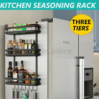 3 Tier Kitchen Refrigerator Side Spice Rack Hanging Shelf Storage Organizer